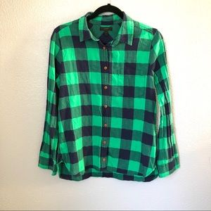 J. Crew Green and Navy Plaid Button Down Shirt